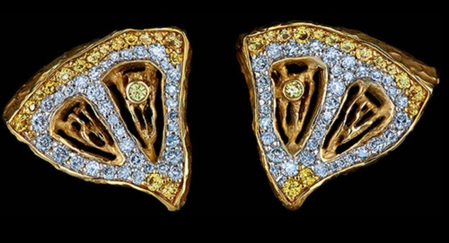 Caravaggio Earrings, gold, diamond