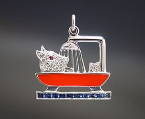Charm 'Dog in the bathtub'. Rubies, lacquer, sapphires, diamonds, platinum