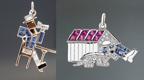 Charm 'Drunken man'. Sapphires, platinum, diamonds. Right - Charm 'Man in a dog house'. Rubies, sapphires, diamonds, platinum