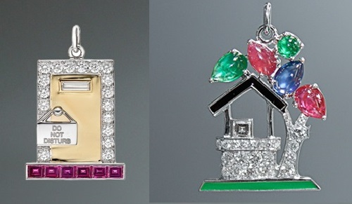 Charm 'Hotel Suite'. Rubies, 18k gold, diamonds, platinum. Right - Charm 'Wishing Well'. Rubies, emeralds, lacquer, sapphires, round and square diamonds, platinum