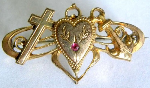 Christian triad Cross-Anchor-Heart in jewellery