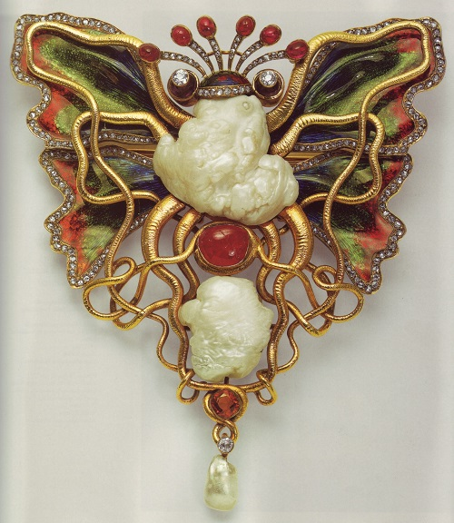 Circa 1900. Brooch by Wilhelm Lucas von Cranach, entitled 'Tintenfisch und Schmetterling' (Octopus and Butterfly)
