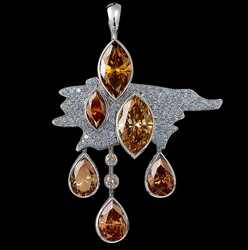 Clouds high jewellery Pendant. 18k white gold, 6 cognac diamonds