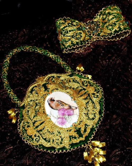 Collectible elegant bag. Volume embroidery performed on antique silk velvet (France 1905-1915), made in difficult Heirloom sewing gold in the Victorian style