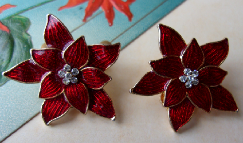 Collectible vintage earrings clips 'Poinsettias' from the American brand Eisenberg