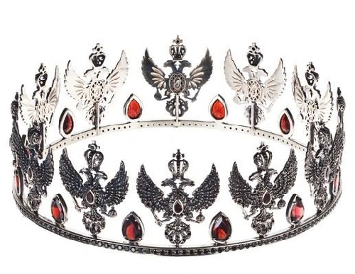 Crown 'Dagmar'. silver 925, garnets, black spinel. Russian style Axenoff Jewellery