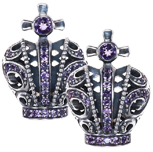 Cuff-links 'Crowns'. silver, Amethysts