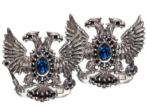 Cuff-links 'Eagles'. silver 925, chalcedony, black spinel