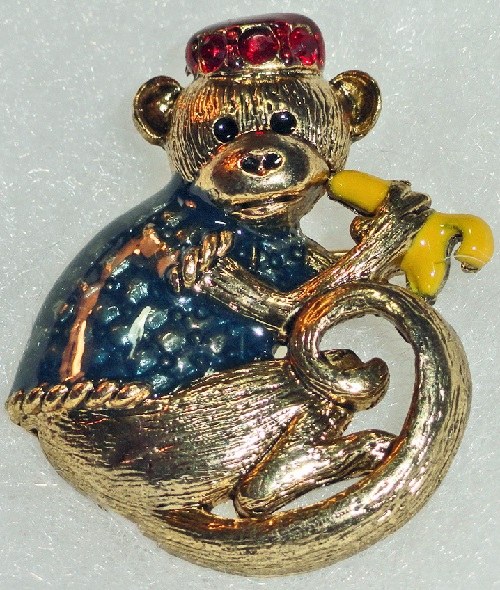 Danecraft vintage brooch Monkey With a Banana