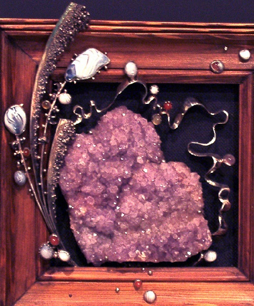 Decorative composition. metal, agate, amethyst brush, carnelian
