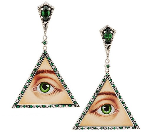 Earrings 'Eye Guardian'. Silver, agate, topazes. Jeweler Petr Axenoff