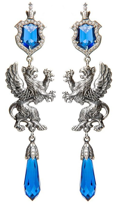 Earrings 'Griffins'. Silver 925, blue spinel, sapphires
