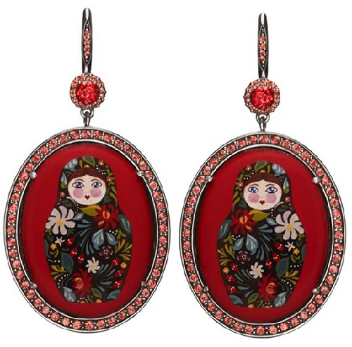 Earrings Matryoshka, silver, enamel, garnets