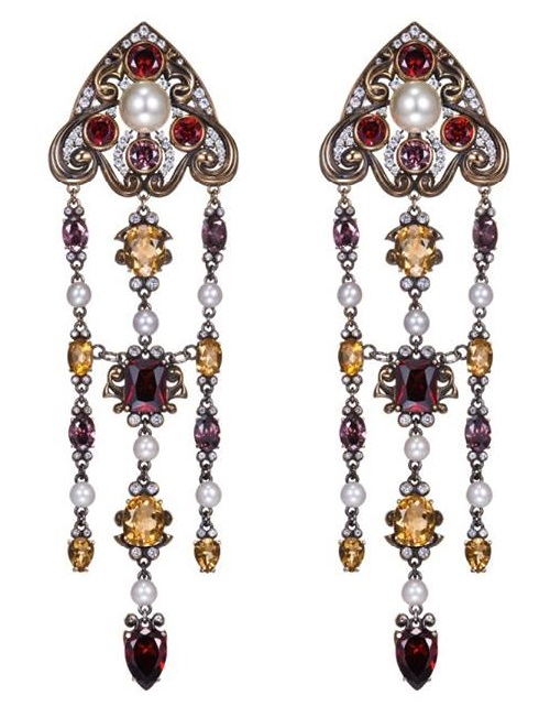 Earrings Sofia. Silver 925, pearls, sapphires, citrines, garnets, amethysts. Jeweler Petr Axenoff