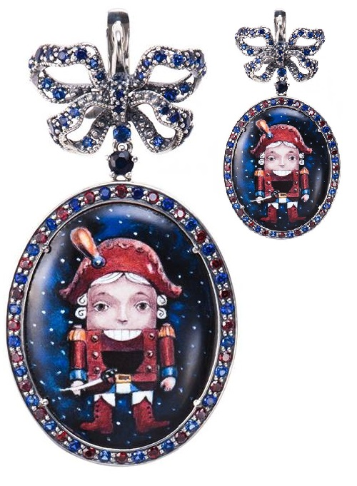 Earrings The Nutcracker. Silver 925, enamel, garnets, sapphires. Jeweler Petr Axenoff