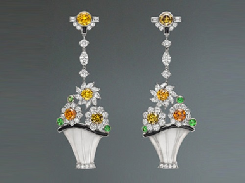 Earrings - colored diamonds, tsavorites, onyx, rock crystal platinum