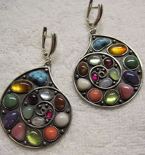 Earrings with gems Ammonite