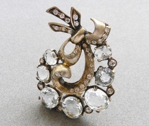Eisenberg Silver fur clip, 1943 - 1948, sterling silver, crystals