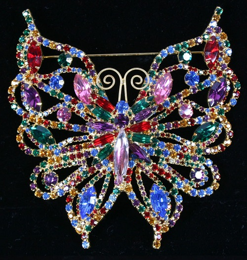Extra large and impressive butterfly pin. Albert Weiss jewellery