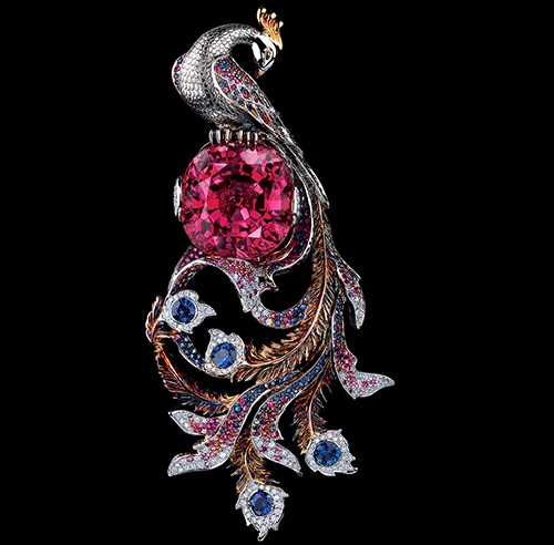 Fairy tales high jewellery Pendant, blue, pink sapphires, diamonds