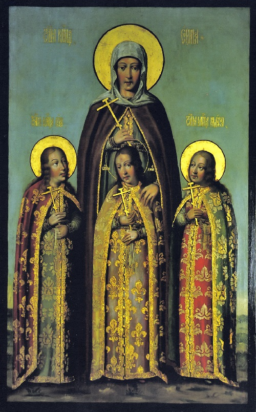 Faith, Hope, Love and their mother Sofia (icon by Karp Zolotarev, 1685)
