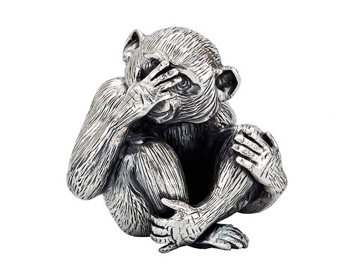 Gianmaria Buccellati. Small Silver 'See No Evil' Monkey Sculpture