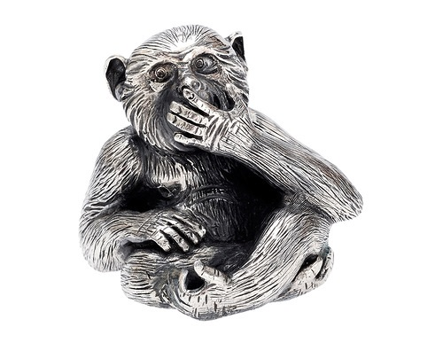 Gianmaria Buccellati. Small Silver 'Speak No Evil' Monkey Sculpture