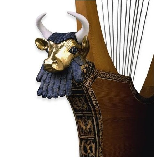 Harp of Puabi from the tomb. The basic materials are lapis lazuli and gold
