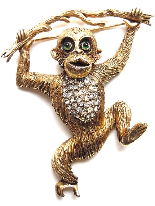Hattie Carnegie Chimp on a Branch Brooch