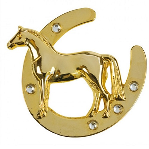 Horseshoe with horse Gold Brooch