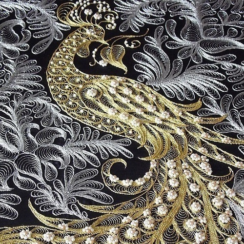 Lid'oro goldwork embroidery Firebird panel