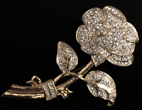 Luxury Haute Couture brooch Rose by Nolan Miller. coated gold color