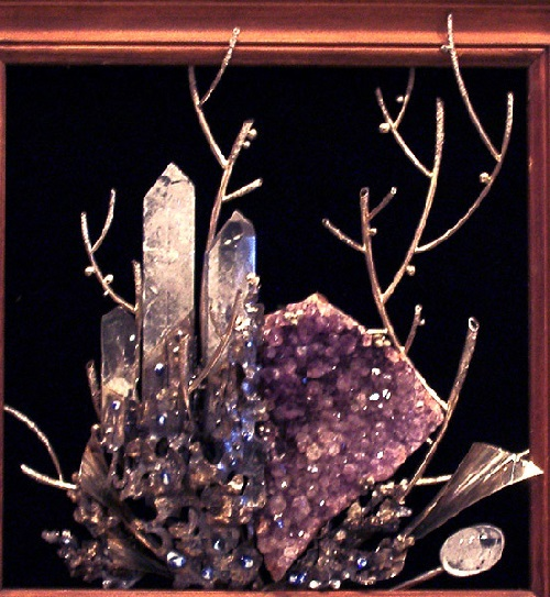 Metal, rock crystal, amethyst brush, hot enamel