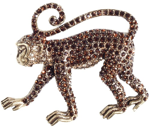 Monkey See Monkey Do Crystal Critter Pin. Heidi Daus jewellery