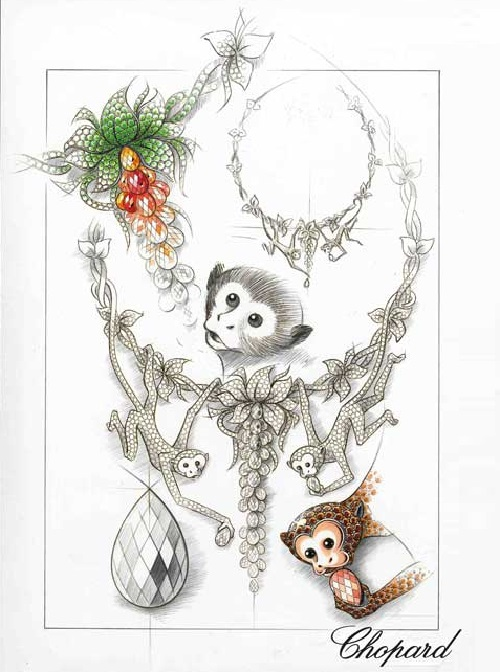 Monkey necklace sketch, one of 150 unique animal jewelry pieces created for 150th anniversary of Chopard