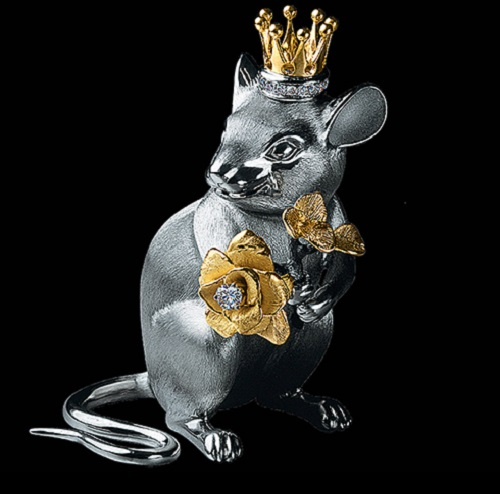 Mouse the King, silver, diamonds