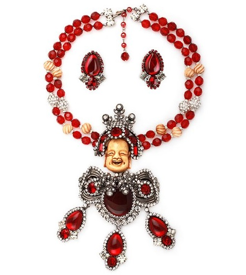 Necklace Laughing Buddha - a symbolic decoration of Larry Vrba. Glass insert, smiling face carved by hand from ivory