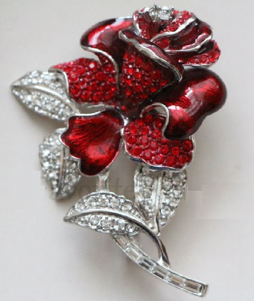 Nolan Miller India marked vintage brooch Rose
