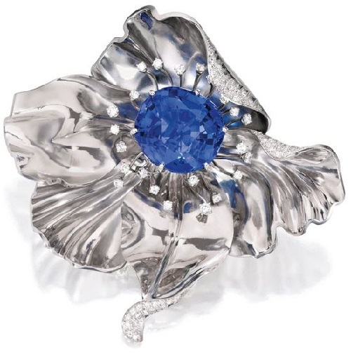 Palladium, Sapphire and diamond brooch, Raymond Yard