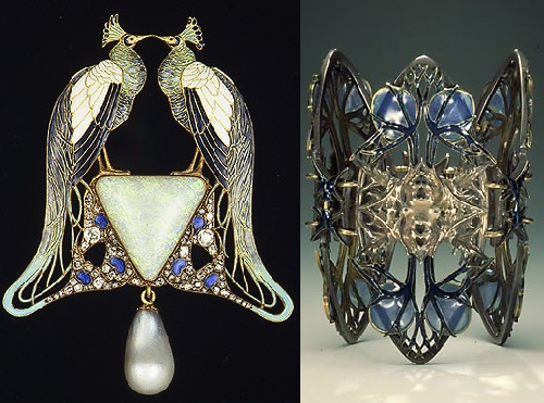 Peacock brooch (left) and bracelet