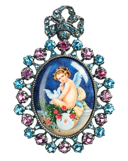 Pendant Angel and Pigeon, silver, blue spinels, topazes, enamel