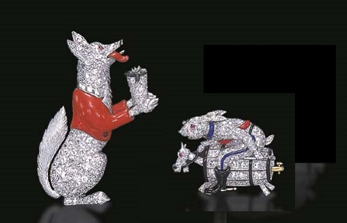 Platinum, diamond, enamel and ruby Rabbit and Fox brooches by Raymond Yard