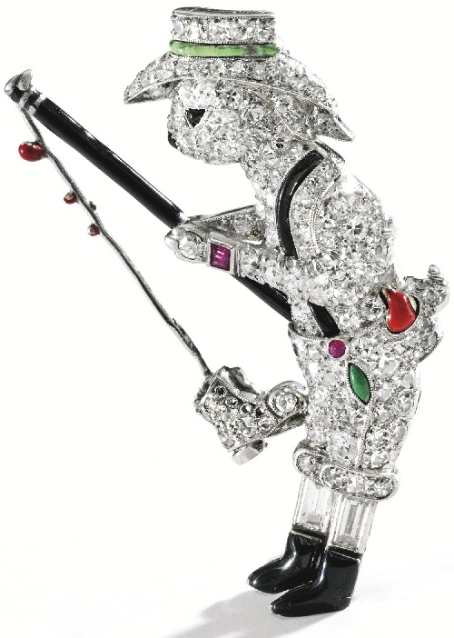 Platinum, diamond, enamel and ruby Rabbit brooch, Raymond Yard