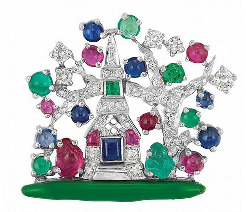 Platinum, diamond, enamel, emerald and ruby House and tree brooch, Raymond Yard