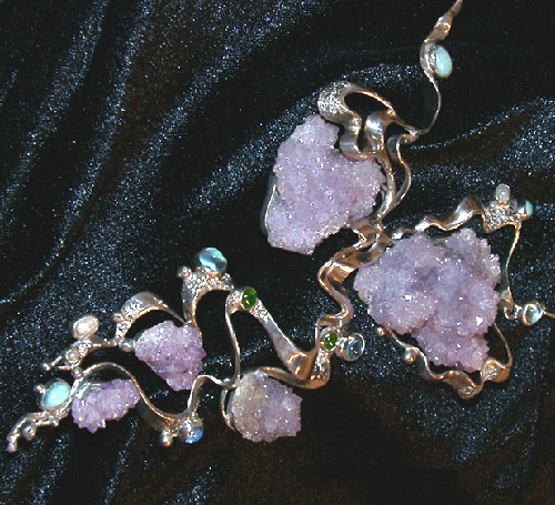 Set of metal, aquamarines, amethysts, pearls, turquoise