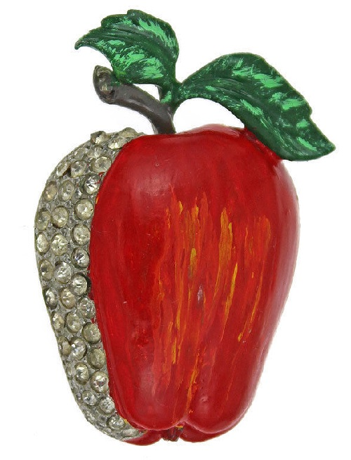 The original antique fur clip from the company 'Deja' from early collection 'Fruits', enamel, crystals, 1930-1941