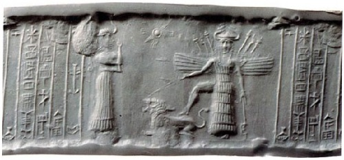This print from Ur depicts Inanna - the goddess of love and war, with her lion