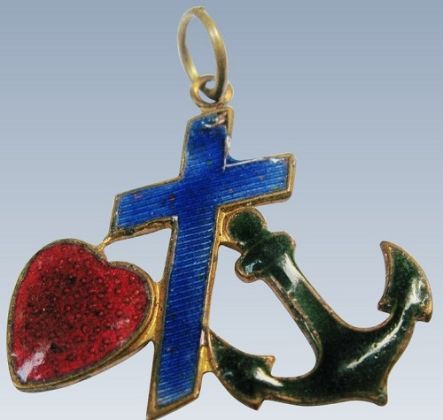 Three main Christian virtues - faith, hope and love in jewellery