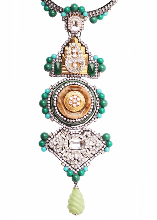 Tiered necklace in art deco style by Larry Vrba