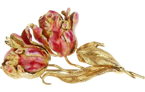 Tulips, gold enamel brooch